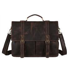 """Men's Leather Messenger Bag 14"""" Laptop Case Business Briefcase Attache School"""