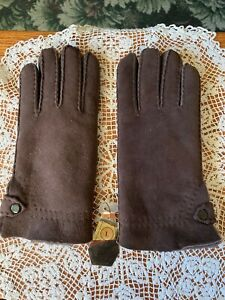 Womens Shearling Sheepskin Gloves Chocolate Brown Suede Size Large - NWT