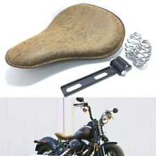 Retro Motorcycle Leather Solo Seat Spring Bracket Mounting Bobber Chopper Brown