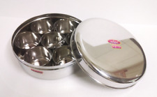 STAINLESS STEEL HEAVY DUTY SPICE BOX MASALA DABBA CONTAINER + SPOON USA SELLING