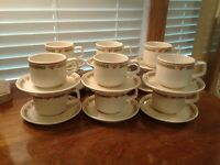 Set Of Four Temper-Ware By Lenox Coral Blossom Coffee Cups And Saucers