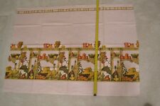 """By 1/2 Yd, 33"""", Vintage 1940's-60's, Kitchen Border Print on Pink Cotton, N39"""