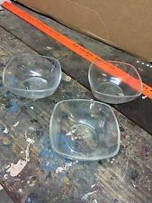 3 Vintage Clear Glass Duraflex France Custard Bowls Rare Shape FREE SHIP