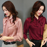 Womens Satin Shirt Button Down Blouse Bow Tie Neck Slim Casual Flare Sleeve Tops