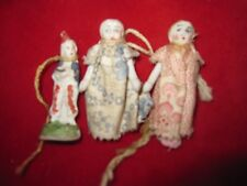 3 Antique Mini Bisque Porcelain Dolls Christmas Ornaments - 2 Wire-Jointed Arms