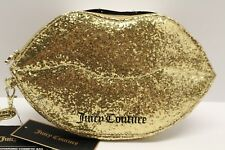 Juicy Couture Gold Glitter Lips Wristlet Phone Charging Cosmetic Case Bag NWT 60