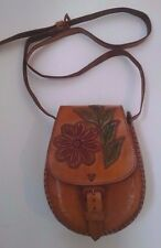 "Mexican Leather Purse Hand Tooled Buckle Fastener Colorful Flower 9x7"" Oaxacan"