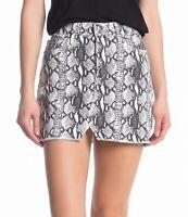 FRAME Womens Le Mini Denim Skirt Black White Size 26 Python Snake Print $195 828