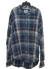 Men's Lucky BRAND Long Sleeve Button Shirt Size Large Blue White Plaid