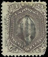 VEGAS - 1862 Sc# 70a 24c - Light Cancel - Brown Lilac - Corner Tear  - EJ65