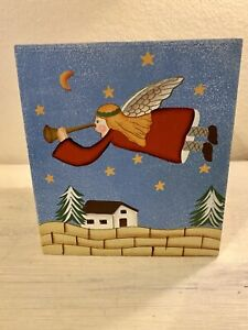 """Vintage Hand Painted Wooden Tissue Box Cover Christmas Theme 5""""x 5"""""""