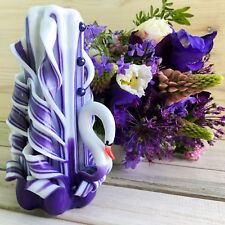 Purple swan candle - Handmade exclusive carved candle Mother' day candle gift