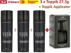 3x Genuine TOPPIK (82.5g) Hair Loss Building Fibers + Toppik Applicator > Caboki