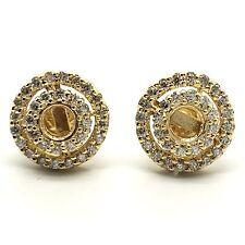 14K Yellow Gold Diamond Halo Mounting Stud Earrings