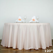 """Blush 120"""" ROUND POLYESTER TABLECLOTH for Wedding Reception Party Dinner SALE"""