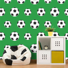 Green Football Wallpaper Soccer Ball Sport Kids Boys Bedroom White Black Goal