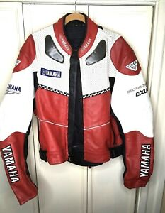Men's Yamaha Performance Apparel  Motorcycle Red Leather Riding Jacket Size 48