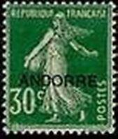 "ANDORRE FRANCAIS STAMP TIMBRE 10 "" SEMEUSE SUR FOND PLEIN 30 C. VERT"" NEUF x TB"