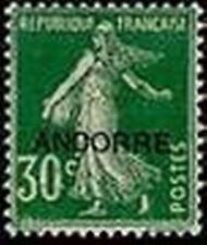 "ANDORRE FRANCAIS STAMP TIMBRE N° 10 "" SEMEUSE FOND PLEIN 30c VERT "" NEUF xx LUXE"
