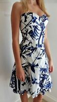 Karen Millen Blue and White Birds of Paradise Dress. Size UK 10.