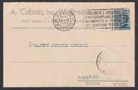 ITALIA REGNO 25c n.83 in varietà dentellatura fortem spostata su cartolina 1927