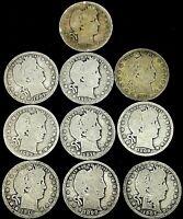 Barber quarters lot (10), 90% silver US coins.