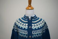 Vintage Handmade Handknitted Fair Isle Scandinavian Cardigan Teal Green Size M/L