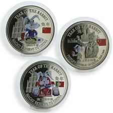 Trade 1 dollar set of 3 colorized coins Rabbit Macau returns China proof 1999