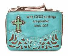 NWT Turquoise Blue Brown With God All Things are Possible Cross Bible Case Cover