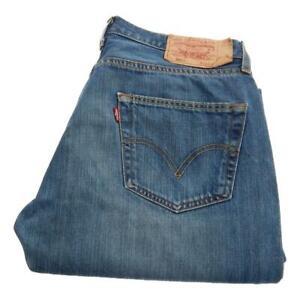 Mens Levi Strauss 501 Straight Leg Jeans Waist 34 Leg 34 Button Fly (P3596)