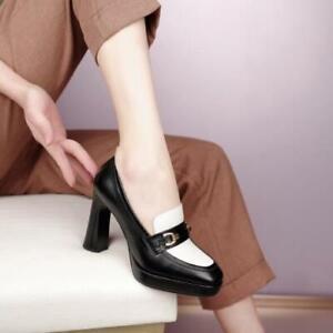 Womens 2021 Fashion Leather Two Tone Metal Decor Block Heel Mule Shoes Pump SKGB