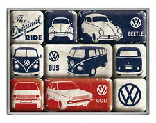 Retro 9 pc Magnet Set VW ORIGINAL RIDE Volkswagen Beetle Bus Golf Licensed Prod