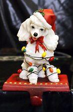 New Noel Dog Poodle Adorable Christmas Holiday Stocking Holder Figurine