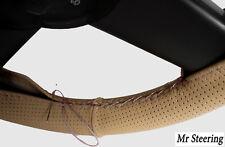 Se adapta a Mercedes W203 Beige De Cuero Perforado cubierta del volante Bordado Blanco