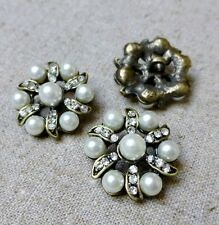 2 pcs bronze strass fausse perle tige bouton mariage deco broche bouton