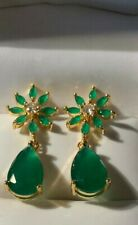 Emerald   Drop Earrings  In 10kt Gold RETAIL $450.00