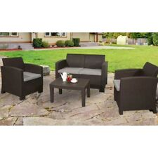 ALEKO Lancaster Rattan Wicker Furniture 4-Piece Indoor Outdoor Coffee Table Set