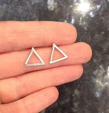 FREE GIFT BAG Silver Plated Geometric Triangle Stud Earrings Maths Jewellery