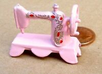 Pink Table Sewing Machine, Dolls House Miniature Sewing Room 1/12 Scale