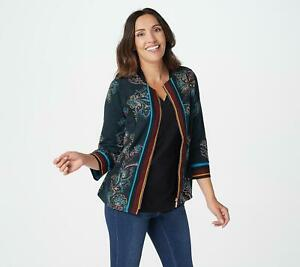 Bob Mackie Women's Round Neck Paisley Print Jacket (Teal Multi, 2XS) A365888