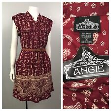 Vintage Nos 1990s Burgundy Paisley Busy Print Sleeveless Belted Dress India S