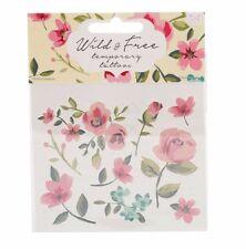 """Floral transferencias de tatuaje temporal: """"Flores Silvestres Y Gratis'"""