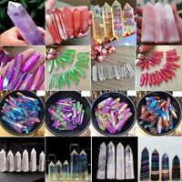 100%-Natural Fluorite Amethyst Point Pink Rose Crystal Quartz Healing Wand Stone