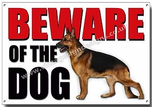 ALSATION BEWARE OF THE DOG METAL SIGN,SECURITY,WARNING,GUARD DOG SECURITY. (A3)