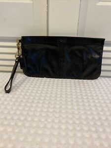 Coach Patent Black Leather Wristlet Clutch Cosmetic Make Up Bag Large