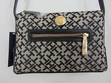 NWT AUTHENTIC TOMMY HILFIGER LONG STARP BLACK BAG      (A0921)