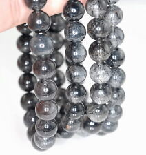 8MM BLACK RUTILATED QUARTZ GEMSTONE GRADE AA ROUND 8MM LOOSE BEADS 7""
