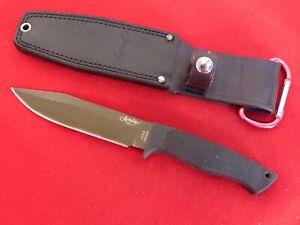 Junglee Seki Japan AUS-8 stainless black Kraton fixed blade knife & sheath