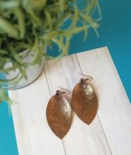 Bronze Metallic/ Leather Earrings/ FREE SHIPPING/ Joanna Gaines/ Boho/ M Leaf