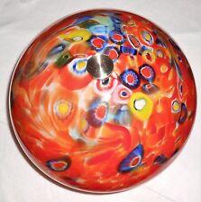 Large Art Glass Ceiling Light Fixture W/Hand Blown Multi-Color Glass Globe